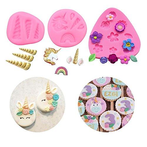 Einhorn mini Form Horn Ohren Blumen Topper Fondant Cake Pop Cookies Jelly Schokolade Form für Cupcakes und Cookies Set von 3 1R rose (Schimmel Pop Candy)