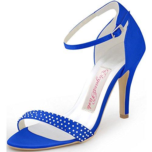 ElegantPark HP1408 Femme Escarpins Satin Diamant Bride Cheville Aiguille Talon Chaussures Sandales de Mariee Soiree Bleu