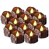 PChero Flammenlose LED-Kerzen Pack von 12 batteriebetriebene LED Teelichter für Geburtstag Hochzeit Festival Home Decor - [Warm White (Schwarzes Gold)]
