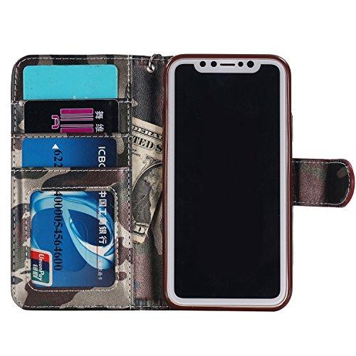 (Jusheng Großhandels-PU-Leder-Schlag-Kastenabdeckung Armee-Tarnungs-Kreditkarte-Geldbörse für iPhone x 10 (Color : Green, Size : Ipx))