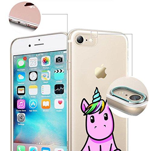 finoo | iPhone 8 Weiche flexible Silikon-Handy-Hülle | Transparente TPU Cover Schale mit Motiv | Tasche Case Etui mit Ultra Slim Rundum-schutz |Einhorn 02 Einhorn pink