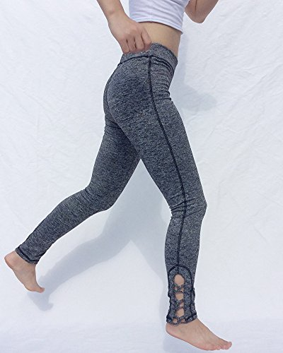 Pantaloni Donna Sportivi Leggings Yoga Fitness Asciugatura rapida Elasticità Grigio