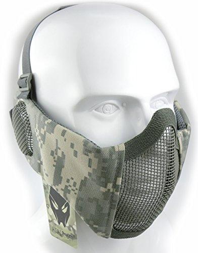 Worldshopping4u Taktische halbe Gesichtsmaske, für Airsoft, Schutz für untere Gesichtshälfte, Geflecht, Nylon, mit Ohrschutz, ACU (Airsoft-schutzbrillen Acu)