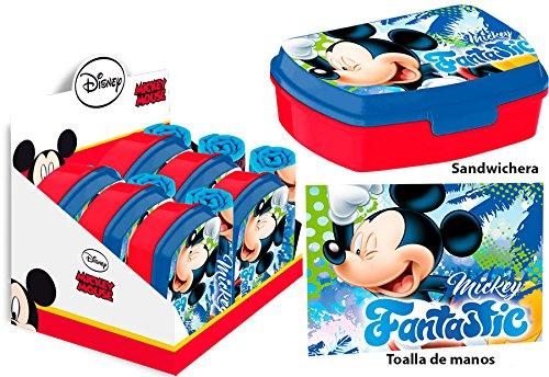 Kids Euroswan Set con Sandwichera y Toalla de 30 x 40 cm, Estampado Mickey Mouse, 15x10x5 cm