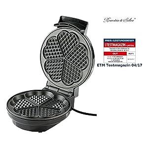 Rosenstein & Söhne Waffelmaschine: Waffeleisen für Herzwaffeln (Waffelmaker)