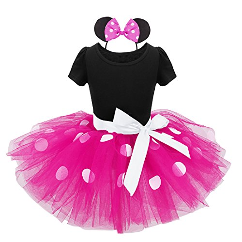 dPois Baby Mädchen Festlich Kleid Outfit Set Polka Dots Tutu Kleid mit Maus Ohren Haarreif Kinder Prinzessin Kostüm Halloween Geburtstag Weihnachten Gr.80-128 Schwarz&Rosa 116/6Jahre