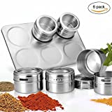Spice Jars, 6 pieces magnetic spice jars by NWSS - clear top lid with sift (Kitchen & Home)