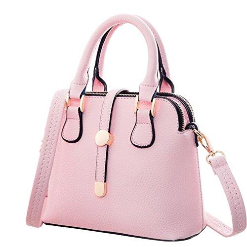NiSeng Damen Schultertasche Vintage PU Leder Handtaschen Elegent Umhänge Tasche Pink