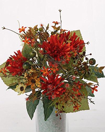 Künstlicher Herbststrauß WERA, Chrysanthemen, Beeren, orange-rot, Ø 20 cm - Erntedank Deko /...