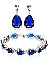 GULICX Damen Ohrringe / Armband / Schmuckset Saphir / Rubin Silber Ohrhänger Tennisarmband Armkette Rot / Blau Weiß Trofen Zirkonia