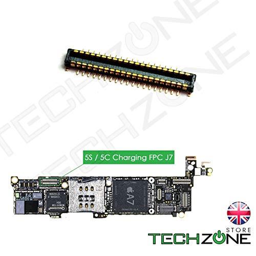 TechZone Ladeanschluss FPC Flex-Connector Dock J7 19Pin für iPhone 5S 5C Logic Board Modelle A1453 A1533 A1457 A1518 A1528 A1530 A1507 A1516 A1526 A1529 - Logic Board