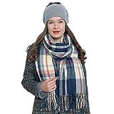 Bufanda de invierno a cuadros grande Oversize para mujers suave y cálida escocesa escocés 185 x 65 cm salmón - azul - blanco