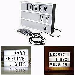 Cisixin LED Cinematic Light Box mit veränderbaren Buchstaben A4 Größe für Haus, Hochzeit, Geburtstage Party, Photoshoots etc.