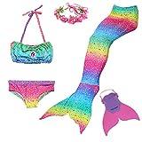 Romance Zone Coda da Sirena per Nuotare Costumi da Bagno Ragazza 5pcs Mermaid Insiemi del Bikini Costume da Sirena Bambina con Fascia di Fiori e Monopinna