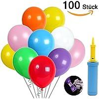KALMI 100 luftballons und Ballon-Klipp und 1 Ballonpumpe, luftballons mit pumpe, Luftballon, Partyballon, Farbige Ballons, Bunte Ballons für Geburtstagsfeiern, Party, Hochzeitsfeiern (blau Pumpe)