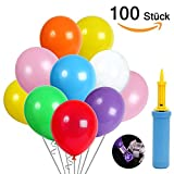 Produkt-Bild: 100 luftballons und Ballon-Klipp und 1 Ballonpumpe, luftballons mit pumpe, Luftballon, Partyballon, Farbige Ballons, Bunte Ballons für Geburtstagsfeiern, Party, Hochzeitsfeiern (blau Pumpe) (Mehrfarbig)