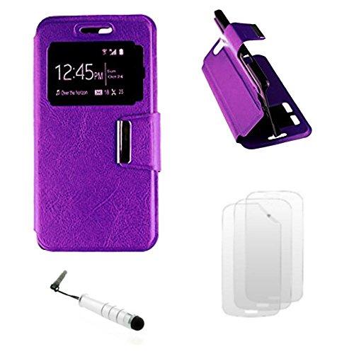 D&C® Etui Housse Luxe Fenêtre Violet Samsung Galaxy Trend 2 Lite SM-G318H + 3 Films et 1 Stylet offerts
