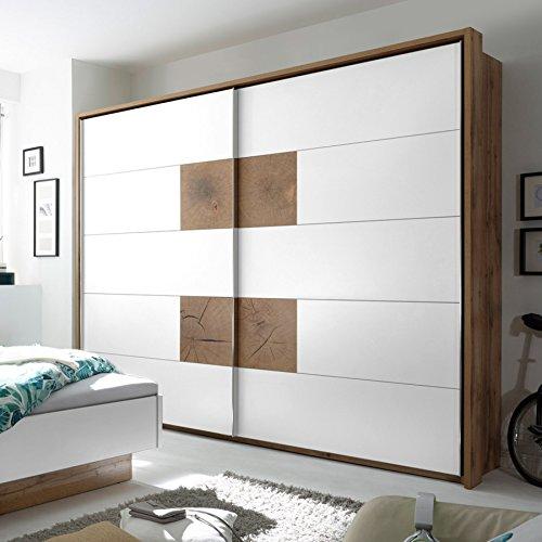 Design Schwebetürenschrank FOREST 270cm weiß Wild Eiche Kleiderschrank Schwebetüren Schrank Schlafzimmer