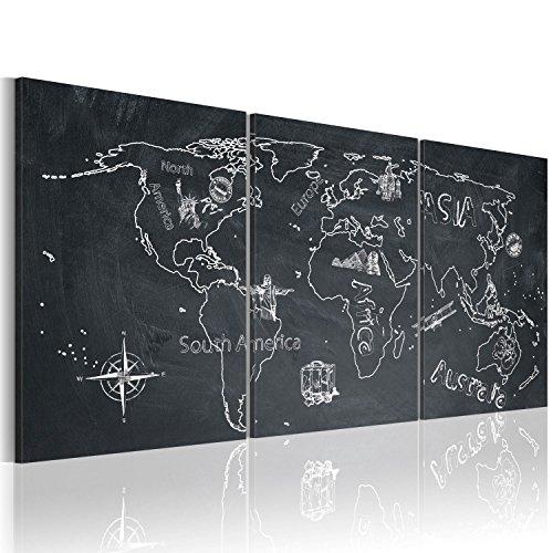 Bd xxl murando - quadro 120x60 cm - 3 parti - quadro su tela fliselina - stampa in qualita fotografica - mappa del mondo 020113-118