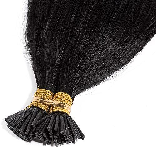 45cm extension capelli veri cheratina nere 100 ciocche i tip remy human hair estensioni per capelli umani, #1b nero naturale