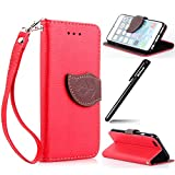 BtDuck iPhone 6 Plus/6s Plus 5.5 Inch Brieftasche Leder Hülle Rot,iPhone 6/6s Handyhülle, Blume PU Leder Stand Tasche Wallet Cover Etui Silikon Schutzhülle Briefcase Lederhülle Stand Tasche