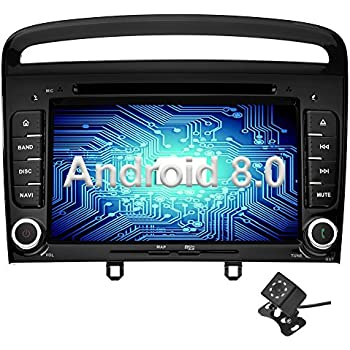 ... Oreo Octa Core 4GB Ram 32GB ROM Reproductor DVD/GPS Navegador Radio Soporta Bluetooth WiFi AV-IN SWC para Peugeot 308 2011 2012 2013 Negro con Camara