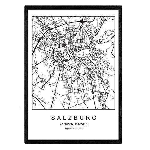 Nacnic Drucken Stadtplan Salzburg skandinavischen Stil in Schwarz und Weiß. A3 Größe Plakatrahmen Das Bedruckte Papier Keine 250 gr. Gemälde, Drucke und Poster für Wohnzimmer und Schlafzimmer