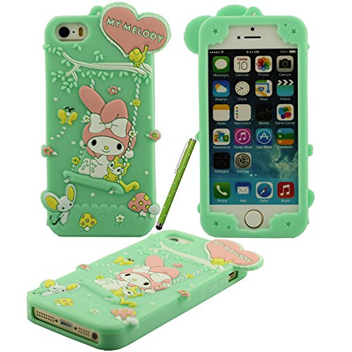 Klar modischen Design Cartoon Netter Swing My Melody Form Soft-Silikon-Schutzhülle case für Apple iPhone 5 5S 5G Hülle mit Touch-Screen-Stift blau