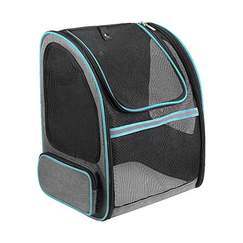 Lavuky Haustier Hund Rucksäcke ZQ010 Transporttasche Tragbare Transparente und Erweiterbare Outdoor Faltbarer Raum für Hunde und Katzen Grau