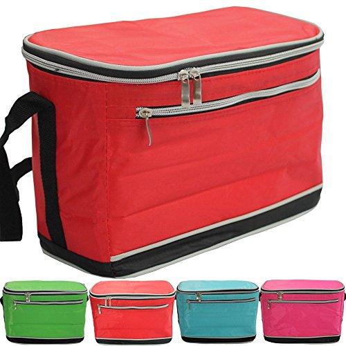 Kühltasche Kompakt 8 Liter mit 2 Fächern wasserdichte und robuste Thermotasche für Picknick und Camping (Rot)