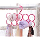 Evana Single Piece 10-Circle Plastic Ring Hanger for Scarf, Shawl, Tie, Belt, Closet Accessory Wardrobe Organizer (Color as available)