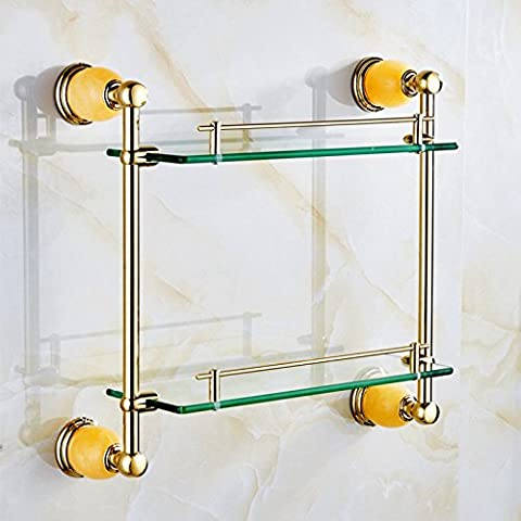 QUEEN'S Jade wc bagno singolo ripiano in vetro per il montaggio a parete in oro rosa a doppia porta asciugamani con