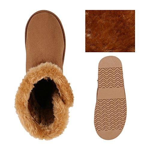 Warm Gefütterte Damen Stiefel Boots Schlupfstiefel Kunstfell Schuhe Hellbraun Knopf