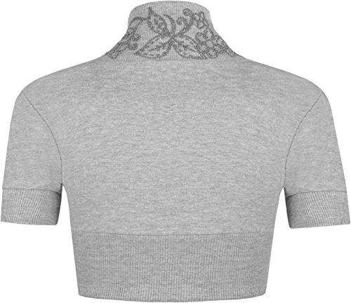 WearAll - Boléro orné de perles à manches courtes - Hauts - Femmes - Grandes tailles 44 à 54 Gris Clair