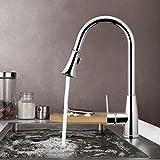BATHWA Küchenarmatur Einhebelmischer Küche Spültisch Armatur Waschtischarmatur mit herausziehbarem Auslauf Wasserhahn (Küchenarmatur)