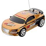 Dcolor Mini Miniature Voiture Vehicule Course Jouet RC Radiocommande Telecommande or jaune