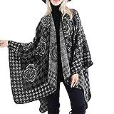 MRULIC Frauen Decke Streifen Muster Coat Wrap Cozy Schal Strickpullover Kaschmir Poncho Strickjacke Softshell Damen Langer Trenchcoat(C-Grau,150x135cm
