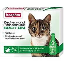 beaphar Zecken- & Flohschutz Spot On für Katzen | Schutz vor Zecken und Flöhe | Mit Margosa-Extrakt | Anti Zecken & Anti Flöhe | 3 x 0,8 ml Pipetten