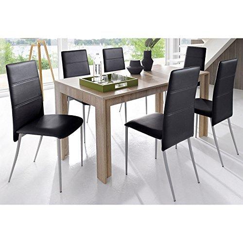 Cavadore - tavolo da pranzo supporter, moderno, larghezza 140 cm, con rivestimento in melamina, effetto rovere grezzo, colore: marrone chiaro, 140 x 80 x 75 cm