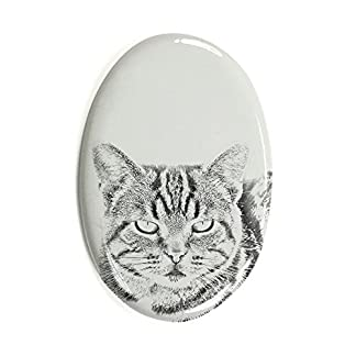 ArtDog Ltd. Manx Cat, oval gravestone from ceramic tile with an image of a cat 51TsxQljeHL
