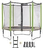 Kangui - Trampoline de Jardin 305 cm + Filet de sécurité + échelle + kit d'ancrage JUMPI Zen 300