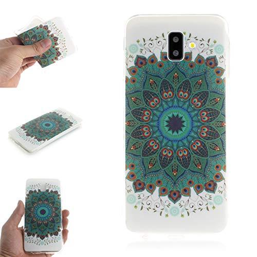 Ostop Coque pour Samsung Galaxy J6 Plus,Étui Silicone Souple Ultra Mince Fine Slim Coloré Motif Couverture Mat Clair Flexible Pare-Chocs Antichoc Anti-Rayures Housse,Paon Mandala Fleur