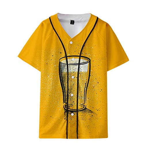 Realde Herren T-Shirt O-Ausschnitt Mode Slim Beiläufige Slim-Fit Baseballuniform Sommer Neu Kurzarm 3D Bierdruck Paar Oberteil Männer Bequem Sport Yoga Atmungsaktiv Viele Farben Blusen