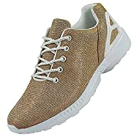 New Ladies Running Trainers Glitter Womens Fitness Gym Sports Lace Up Shoes Size 4