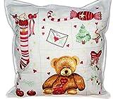 Hossner KISSENHÜLLE 40 x 40 cm Weihnachten Teddybär Sofakissen Kissenbezug Leinenoptik Cushion Case (Bär Tanne Socke)