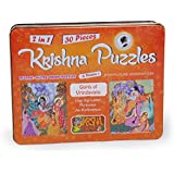 Krishna Puzzles| Gopis of Vrindavan | Jigsaw 2-in-1 Plastic| Waterproof Puzzles (Orange)