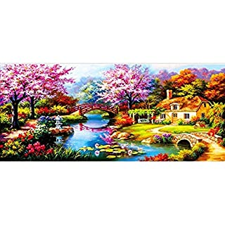 INJOYS DIY 5D Diamond Painting by Number Kits,Full Drill Crystal Rhinestone Embroidery Pictures Arts Craft for Home Wall Decor Gift (47.2X 23.6inch, Dream Garden 2)