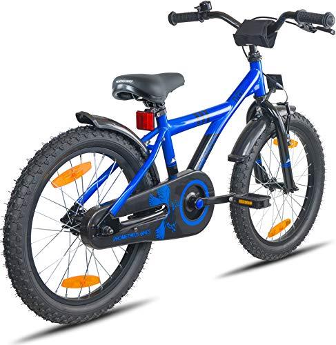 Prometheus Bicicletta per bambini e bambine dai 6 anni nei colori blu e nero da 18 pollici con freno a V in alluminio e contropedale – BMX da 18″ modello 2019 - 5
