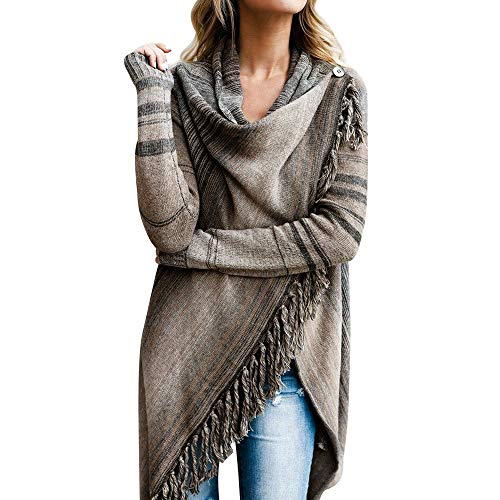 TOPKEAL Jacke Mantel Damen Herbst Winter Sweatshirt Gestrickter Steppjacke Kapuzenjacke Quaste Unregelmäßige Hoodie Poncho Schal Pullover Outwear Coats Tops Mode 2020