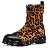 Caspar SBO093 Damen Schlupf Stiefeletten mit Glitzer Strass Dekor, Farbe:Leopard braun, Größe:39 EU